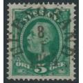 SWEDEN - 1891 5öre bluish green Oscar II, used – Facit # 52c