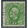SWEDEN - 1891 5öre yellowish green Oscar II, used – Facit # 52d