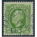 SWEDEN - 1891 5öre yellow-green Oscar II, inverted crown watermark, used – Facit # 52evm¹