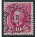 SWEDEN - 1891 10öre bright carmine Oscar II, inverted crown watermark, used – Facit # 54evm¹