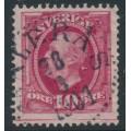 SWEDEN - 1891 10öre rose-carmine Oscar II with joining line (lödskarvlinje), used – Facit # 54dv10