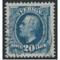 SWEDEN - 1891 20öre greyish blue Oscar II, inverted crown watermark, used – Facit # 56cvm¹