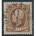 SWEDEN - 1891 30öre yellowish brown Oscar II, inverted crown watermark, used – Facit # 58avm¹