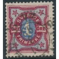 SWEDEN - 1892 4öre carmine/blue Numeral, portions of two crown watermarks, used – Facit # 64avm²