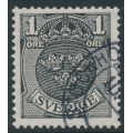SWEDEN - 1912 1öre black Small Coat of Arms, inverted lines + KPV watermark, used – Facit # 71cxz