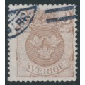 SWEDEN - 1912 1öre black Small Coat of Arms, inverted lines + KPV watermark, used – Facit # 73cxz