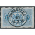 SWEDEN - 1874 12öre clear blue Large Official (Tjänstemärke), perf. 14, used – Facit # TJ5b