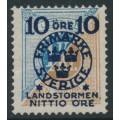 SWEDEN - 1916 10+NITTIO öre on 1Kr blue/brown Postage Due Landstorm II overprint, MH – Facit # 124