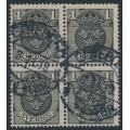 SWEDEN - 1912 1öre black Small Coat of Arms, inverted lines watermark, block of 4 used – Facit # 71cx