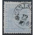 SWEDEN - 1855 4Skilling light grey-blue Coat of Arms, used – Facit # 2k²