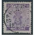 SWEDEN - 1858 9öre red-violet Coat of Arms, used – Facit # 8a