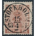 SWEDEN - 1858 30öre red-brown Coat of Arms, used – Facit # 11b