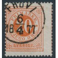 SWEDEN - 1872 20öre orange-red Ring Type, perf. 14, misplaced perforations, used – Facit # 22h