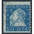 SWEDEN - 1920 20öre blue Gustaf II Adolf, perf. 9¾ on 2-sides, '/' + KPV watermark, used – Facit # 152Acxz