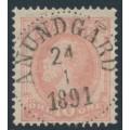 SWEDEN - 1886 10öre dull rose Oscar II with posthorn, used – Facit # 45d