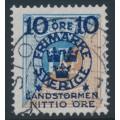 SWEDEN - 1916 10+NITTIO öre on 1Kr. blue/brown Postage Due Landstorm II overprint, used – Facit # 124