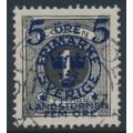 SWEDEN - 1916 5+FEM öre on 1öre black Postage Due Landstorm II overprint, used – Facit # 115