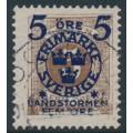 SWEDEN - 1916 5+FEM öre on 5öre brown Postage Due Landstorm II overprint, used – Facit # 117b