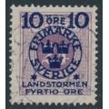 SWEDEN - 1916 10+FYRTIO öre on 24öre blue-lilac Postage Due Landstorm II overprint, used – Facit # 121a