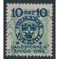 SWEDEN - 1916 10+TJUGO öre on 30öre green Postage Due Landstorm II overprint, used – Facit # 122a