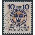 SWEDEN - 1916 10+FYRTIO öre on 50öre yellowish orange-brown P. Due Landstorm II overprint, used – Facit # 123a