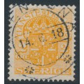 SWEDEN - 1913 2öre orange Official (Tjänstemärke), inverted lines watermark, used – Facit # TJ41cx