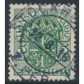 SWEDEN - 1911 5öre green Official (Tjänstemarke), inverted lines watermark, used – Facit # TJ44cx