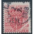 SWEDEN - 1911 10öre red Official (Tjänstemarke), pre-printing paper fold (dragspel), used – Facit # TJ47