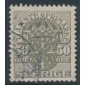 SWEDEN - 1915 50öre grey Official (Tjänstemarke), inverted lines watermark, used – Facit # TJ54cx