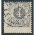 SWEDEN - 1879 4öre grey Ring Type, perf. 13, with misplaced perforations, used – Facit # 29dv5