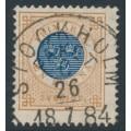 SWEDEN - 1878 1Kr. yellowish orange-brown/dark blue Ring Type, p.13, used – Facit # 38e