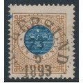 SWEDEN - 1886 1Krona brown/blue Ring Type, perf. 13 with posthorn, 'spot in circle', used – Facit # 49d