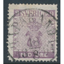 SWEDEN - 1858 9öre red-lilac Coat of Arms, used – Facit # 8b