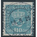 SWEDEN - 1920 110öre greenish blue Crown and Posthorn, lines watermark, used – Facit # 169cx