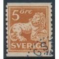 SWEDEN - 1921 5öre brown Lion, type II, perf. 2-sides, inverted lines + KPV watermark, used – Facit # 142Acz