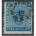 SWEDEN - 1855 4Skilling dark blue Coat of Arms, used – Facit # 2n