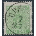 SWEDEN - 1858 5öre yellow-green Coat of Arms, used – Facit # 7c²