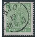 SWEDEN - 1858 5öre bluish green Coat of Arms, used – Facit # 7e²