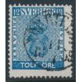 SWEDEN - 1858 12öre blue Coat of Arms, used – Facit # 9c1
