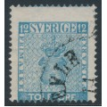 SWEDEN - 1858 12öre greenish blue Coat of Arms, misplaced perforations, used – Facit # 9m
