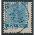 SWEDEN - 1858 12öre blue Coat of Arms, misplaced perforations, used – Facit # 9m