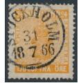 SWEDEN - 1858 24öre reddish orange Coat of Arms, used – Facit # 10f2