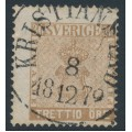 SWEDEN - 1858 30öre chocolate-brown Coat of Arms, used – Facit # 11h