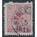SWEDEN - 1858 50öre carmine-rose Coat of Arms, used – Facit # 12f1