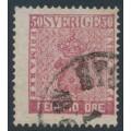 SWEDEN - 1858 50öre violet-rose Coat of Arms, used – Facit # 12g2