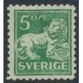 SWEDEN - 1920 5öre green Lion, type I, perf. 9¾ on 4-sides, '/' watermark, MNH – Facit # 140Ccx
