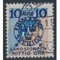 SWEDEN - 1916 10+NITTIO öre on 1Kr blue/brown Postage Due Landstorm II overprint, used – Facit # 124