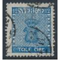 SWEDEN - 1858 12öre blue Coat of Arms, 'fotsteget', used – Facit # 9c3v13