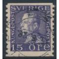 SWEDEN - 1922 15öre violet King Gustav V, lines watermark, used – Facit # 175Acx