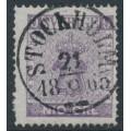SWEDEN - 1858 9öre blue-lilac Coat of Arms, used – Facit # 8c